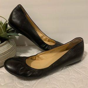 J Crew Black Leather Cece Ballet Flats